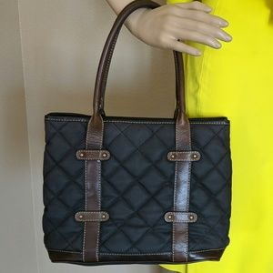 J.CREW TOTE Quilted Diamond Pattern Leather Trim